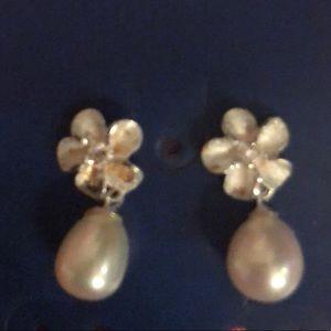 TROPICAL PEARLS Sterling Silver/Pearl Earrings NEW